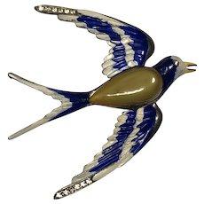 "1930's Large enamel bird ""Trembler"" brooch"