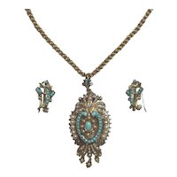 Victorian 14k Turquoise Pearl locket/pendant and Earrings set
