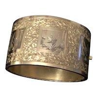 Wide Victorian Bangle Bracelet English Sterling
