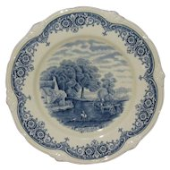 "W H Grindley Blue on White 9"" Plate, from ""Scenes After Constable"" Series"