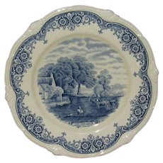 """W H Grindley Blue on White 9"""" Plate, from """"Scenes After Constable"""" Series"""