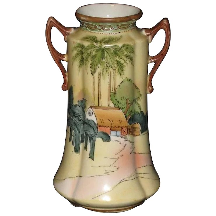 Hand Painted Double Handled Japanese Vase With Egyptian Styling Bi