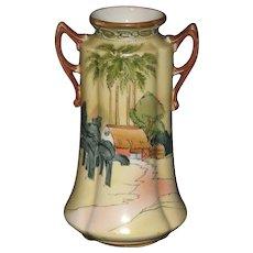 "Hand Painted Double-Handled Japanese Vase with Egyptian Styling; ""Bi Bi"" Mark"