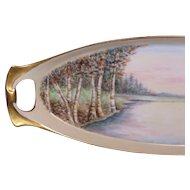 Hand Painted Birch Trees & Pastel Colors River Scene, Celery Tray - Display Piece