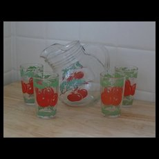 1950s Retro Round Glass Tip Pitcher with Tomatoes, 4 Glasses