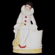 Pierrot with Lute Porcelain Figurine, German Bud Vase
