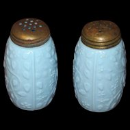 1890s Victorian Robin's Egg Blue Glass Salt & Pepper Set