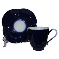 Pouyat Limoges Cobalt Blue Cup and Saucer, Quatrefoil Shape, Demi Tasse