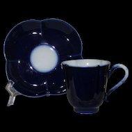Pouyat Limoges Cobalt Blue Cup and Saucer, Quatrefoil Shape, Demi Tasse