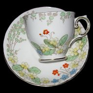 Tuscan Fine English Bone China Cup and Saucer, Unusual Floral/Leaf Design