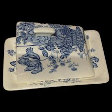Royal Crownford Blue & White Charlotte Pattern Ironstone Cheese Keeper