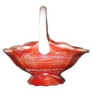 "Imperial Glass Co. ""End O' Day Ruby"" Slag Glass Basket"