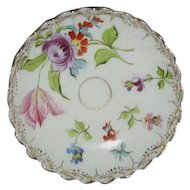 Delicate White Porcelain Pin Dish, Hand Painted Garden Flowers, Gold Edging