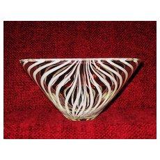 Mid Century Art Glass Bowl, White Stripes, Kumela of Finland, Maija Carlson