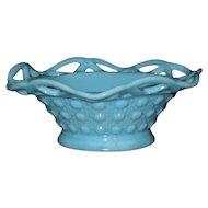 Imperial Glass Blue Sea Foam Bowl, Lace Edge Pattern