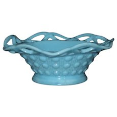Imperial Glass Blue Sea Foam Bowl, Lace Edge Pattern