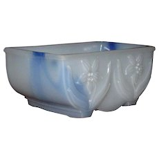 Akro Agate Blue Swirl Milk Glass Bulb Planter, Jonquil Pattern