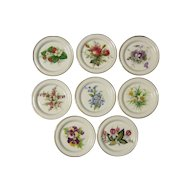 Eight (8) Hammersley & Co. Bone China Floral Coasters