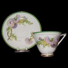 Royal Doulton Cup and Saucer, Glamis Thistle Pattern  Artist Signed, P. Curnock