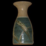 Art Pottery Vase, Turquoise, Aqua, Sand-Color, Dune Grass Décor