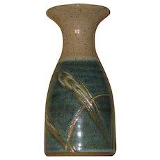 Art Pottery Vase, Turquoise, Aqua, Sand-Color, Dune Grass Décor