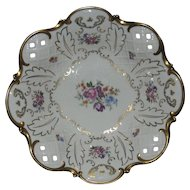 Footed Floral Console Bowl Reticulated Edges Gold Enamel Reichenbach