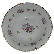 Large Porcelain Serving Bowl, Roses & Tulips Gold Enameling, Reichenbach