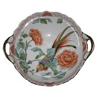 Stunning Hand Painted Exotic Bird Bowl, Asian Style, Germany, Kammer Porcelain