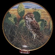 "Spode China ""Prairie Sundown"" Burrowing Owl Collector's Plate, Nature Artist John Seerey-Lester Ltd Ed."