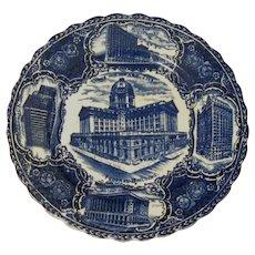 """Antique Flow Blue Views of Chicago 9"""" Souvenir Plate"""