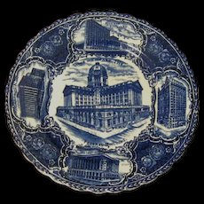 "Antique Flow Blue Views of Chicago 9"" Souvenir Plate"