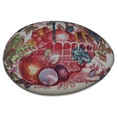 Mason's Porcelain Egg Trinket Box, Red Multicolor Fruit Basket Pattern