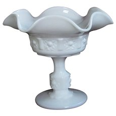 Milk Glass Compote, Fluted Pedestal Bowl, Unsigned