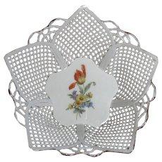 Lattice Work Porcelain Basket, Tulip Center, Handmade Romanian