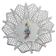 Handmade in Romania, Lattice Work Porcelain Basket, Posy Center