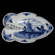 Vintage Blue Dutch Delft Hand Painted Tray or Nappy, Artist Signed