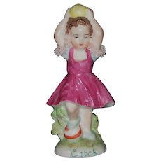 "Muller Volkstedt Irish Dresden ""Catch"" Little Girl Figurine"