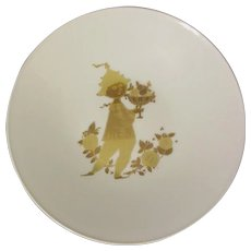 "Bjorn Wiinblad ""Romanze"" Rosenthal Plate, Gold Painted Charming Figure"