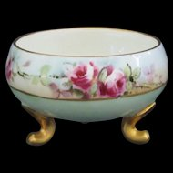 Paroutaud Freres Limoges Porcelain Individual Salt Hand Painted Roses