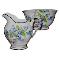 Vintage Tuscan Small Creamer and Open Sugar Forget-Me-Not