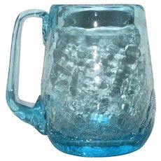 Large Ice-Blue Crackle Glass Mug with Applied Handle