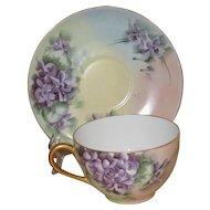 Tressemann & Vogt Limoges Hand Painted Antique Cup and Saucer Set, with Violets, Signed