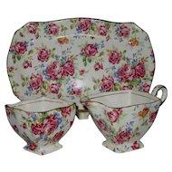 Royal Winton Grimwades 3-Piece Victorian Rose Chintz Creamer & Sugar Set w/ Tray