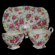 Royal Winton Grimwades 3-Piece Victorian Rose Chintz Creamer & Sugar Set w/ Tray