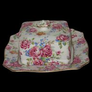 Royal Winton Grimwades Victorian Rose Chintz Covered Butter or Cheese Dish, 2-Piece