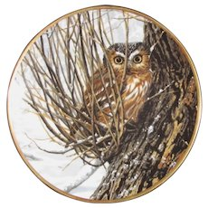 Spode Bone China Northern Saw-Whet Owl Collector's Plate by Artist John Seerey-Lester, Limited Edition