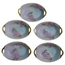 Set of 5 Vintage Hand Painted Bavarian Salt Dips or Nut Cups
