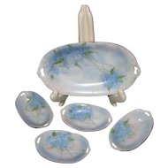Porcelain Tirschenreuth Hand Painted Signed Relish Dish with Four Individual Salt Dips, Repaired