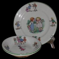 Shenango Child's Dishes, Storybook Design Bread Plate and Small Bowl