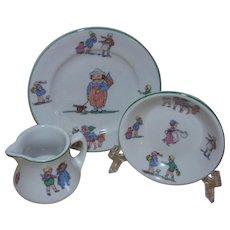 Shenango Child's Bread Plate, Small Bowl, and Cream Pitcher